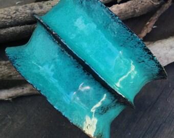 Rustic enamelled blue green cuff, foldformed anticlastic  | anticlastic cuff, enamelled bangle, hand wrought, copper cuff,