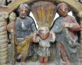 Antique Italian Hand Carved Relief Nativity of Holy Family, Religious Folk Art