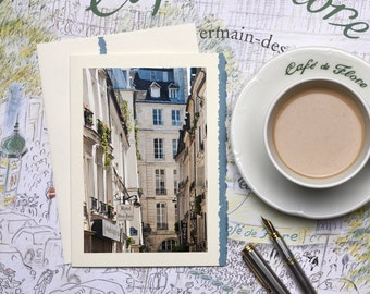 Paris Photography Notecard - In the Heart of Paris Notecard, Stationery, Blank Card, Greeting Card, Print on Ivory Card Blue Deckle Edge