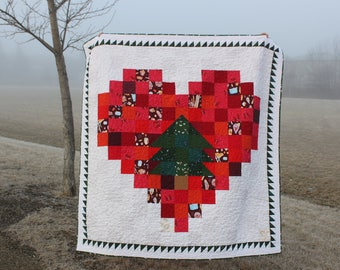 Modern Christmas Quilt PDF Pattern, stash buster pattern, charm square pattern, tree lover's quilt pattern, environmentalist quilt pattern