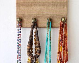 Naturel linen jewelry organiser.Wall organiser.Jewellery hanging.Jewelry storage