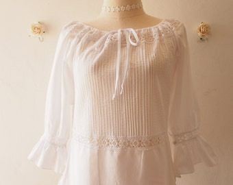 White Dolly Romantic  Top Blouse Sweet Vintage Summer Style (US2-6)