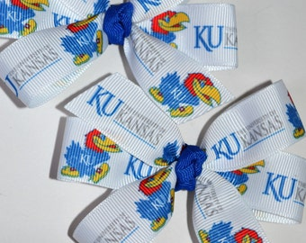 Set of Two Kansas University Jay Hawks Hair Bows KU