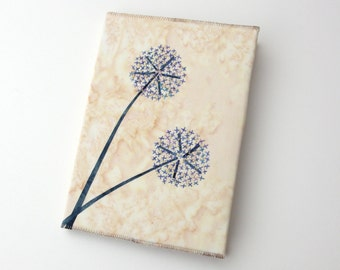 Alliums Hand Stitched A5 Embroidered Address Book, Cream, Blue & Gold
