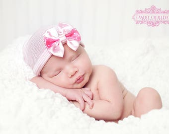 First Bow Newborn Hospital Hat (newborn hat, newborn beanie, newborn hospital hat with bow, first bow, rhinestone flower, take home outfit)