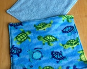 Cloth baby Wipes Unpaper Towels Turtles Blue  Reusable Flannel Set of 4