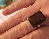 Large Natural Smokey Quartz Ring Solid 925 Silver Jewelry Size 7.5
