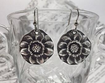 Earrings, Sunflower, Silver, Sterling Silver, Floral, Flower