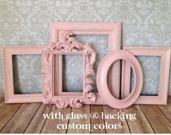 Baby PICTURE FRAMES - Shabby Chic Nursery or Wedding - w/ Glass and Backing