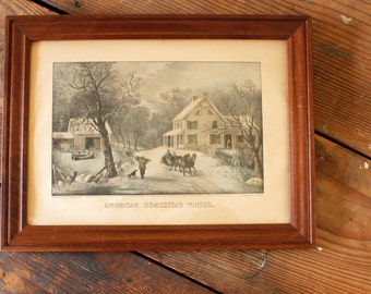 Wood Framed Currier & Ives Lithograph Titled American Homestead Winter Vintage Americana Wall Art Wall Collage