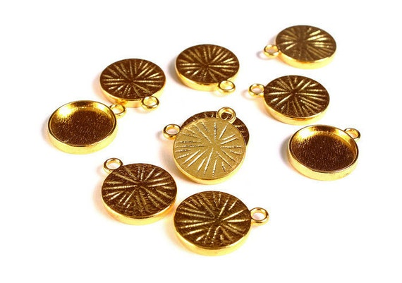 12mm Gold Tray Pendant 12mm Cabochon Settings Gold