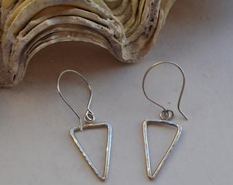 Contemporary Sterling Silver Arrowhead Triangle Geometric Drop Earrings