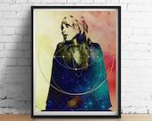 Heilige Stevie Nicks Druck, Fleetwood Mac ORIGINAL-Kunst, Heilige Geometrie Gold Galaxy Kunst Druck Poster Vintage Boho Home Decor Hochzeit Wandkunst