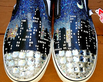 I LOVE NEW YORK city skyline purple blue ombre sky nyc glow in the dark moon glitter Vans slip on crystal black shoes any size