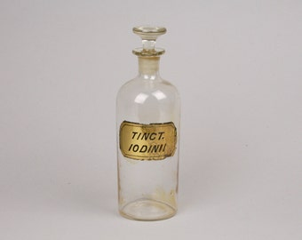 Pharmacy Stock Bottle, Tinct. Iodinii, Blown in Mold Antique Bottle, Ground Glass Stopper
