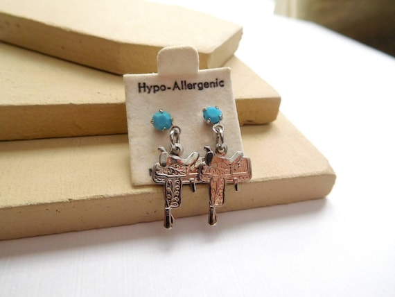 Vintage Small Silver Saddle Turquoise Stud Dangle Southwest Cowgirl Earrings L19