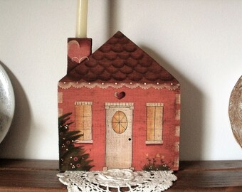 Wooden Hand Painted Pink Victorian House With Candle