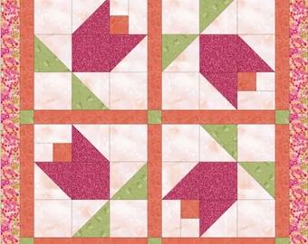 PDF quilt top pattern Spring Tulip instant download, Quilt top pattern, Pink flower quilt top, Spring Tulips quilt sewing pattern
