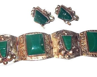 Taxco Link Bracelet Earring Set Signed Sterling Green Onyx Face Panels Mexico Jewelry Vintage