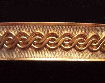 "Art Deco Hinged Bracelet Raised S Curve Design Gold Metal Cuff Bangle 2 1/2"" Vintage"