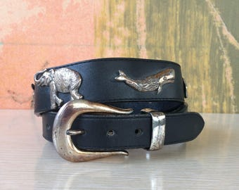 Animals of the World Belt Small • Honest by Brighton • Vintage 90s Black Leather Belt • Silver Animal Motif • Whale • Elephant • Earth Day
