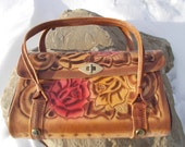 vintage painted tooled leather rose purse pink and yellow roses - 70s