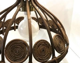Vintage Jungalow Dark Brown Rattan Chandelier Hanging Lamp Rattan Pendant Light Fixture Woven Tulip Shape Flower w/ Extension Chain