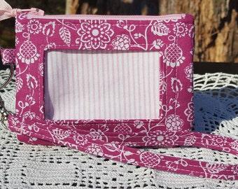 ID Wallet, Keychain Wallet, ID Holder, Zip ID Wallet, Optional Wrist Strap, Pink Floral