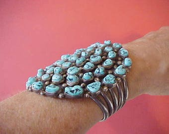 Big Gorgeous Native American Old Pawn Cluster Bracelet-Sterling with Turquoise