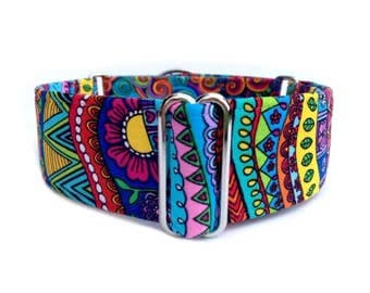 Wild Doodles Dog Collar - 1 inch or 1.5 inch Martingale Collar in Rainbow Fair Isle Doodles and Swirls