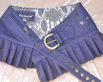 Steampunk leather skirt blue leather mini skirt wrap around leather skirt adjustable