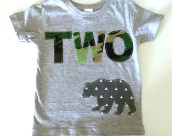Second Birthday Shirt  Green Camo camouflage woodland bear forest modern Birthday Boys Shirt two gift photo prop navy gray