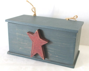 Vintage Primitive Box With Star Jute Rope Hinges for Lid Country Rustic Decor Red Blue
