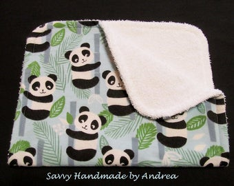 Burp Cloth with Pandas, Baby Burp Cloth, Flannel and Terry Cloth Burp Cloth