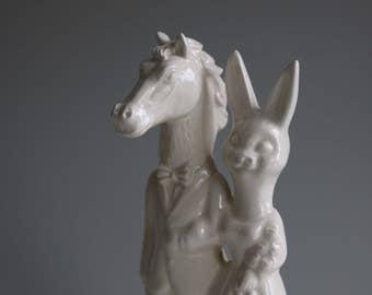 Horse and Bunny Wedding Cake Topper Handmade Ceramic Stallion