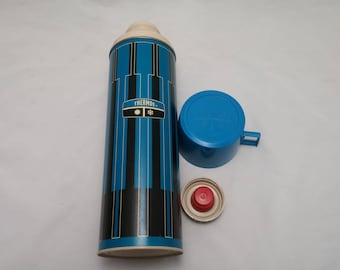 Vintage 1970s Blue, Black and White Hipster Thermos - Made in Norwich Connecticut, Classic Colors, Retro Design