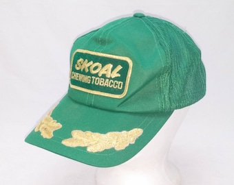 Vintage 1980s Eggshell Trucker Ball Cap - SKOAL Chewing Tobacco -  Hipster, Rockabilly, Farmer, Tractors, Accessories, Dad Hats