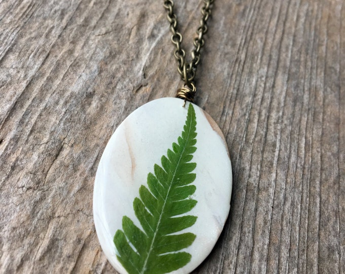 Large Oval Real Fern Frond Pendant Necklace