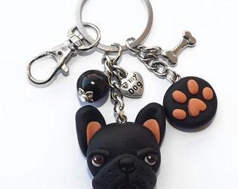 French Bulldog Black  and paw footprint keychain