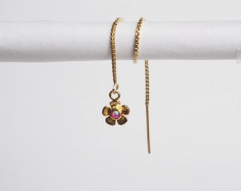 Single Gems Pink Opal flower Ear Chain / Gold Threader Earrings/Chain Earrings - Single (Limited number of items)