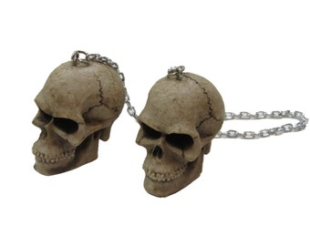 Bone Skeleton Head Rear View Mirror Skull Danglers