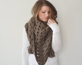 chunky crochet triangle scarf shawl - the LATITUDE scarf - taupe