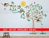 Monkeys in a Tree with Branch Vinyl Wall Decal, Monkey Tree Wall Decal for Nursery, Kids, Childrens Room 023