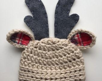 Christmas hat, baby Christmas hat, reindeer hat, newborn boy hat, deer hat, newborn deer hat, baby boy hat, crochet deer hat, baby deer hat