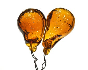 VINTAGE: 2 Extra Large Old Amber Glass Ballon Headpins - Hand Blown Glass Picks - Embedded Wire Glass Drops - Grapes - SKU 4-OS-000080423