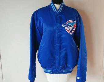 """Vintage """"Authentic Diamond Collection by Starter"""" Toronto Blue Jays Satin Jacket w/ Quilted Lining- EUC SIZE XL Baseball Sports Streetwear"""