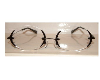 Large clear oval with black echo parenthesis like side frame cosplay costume glasses.