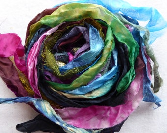 15 hand dyed silk ribbons approx 1m each mix of texture/colour - FR75