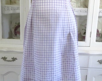 Vintage Half Apron, Lavender and White Checks w Embroiderery Detail,  Womens Waist Apron, Vintage Linens by TheSweetBasilShoppe