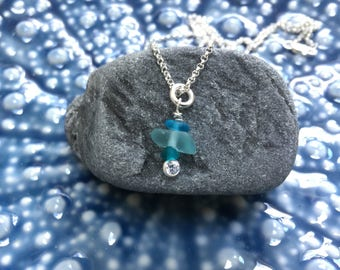 rare teal green turquoise sea glass necklace, stacked teal green turquoise sea glass necklace, sea glass necklace, bridesmaid beach wedding